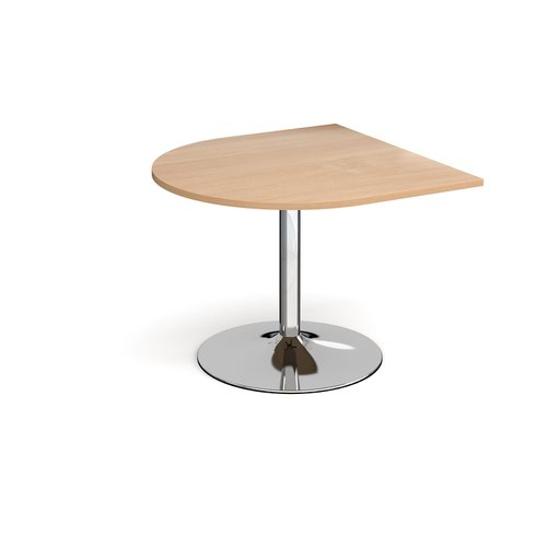 Trumpet base radial extension table 1000mm x 1000mm - chrome base and beech top