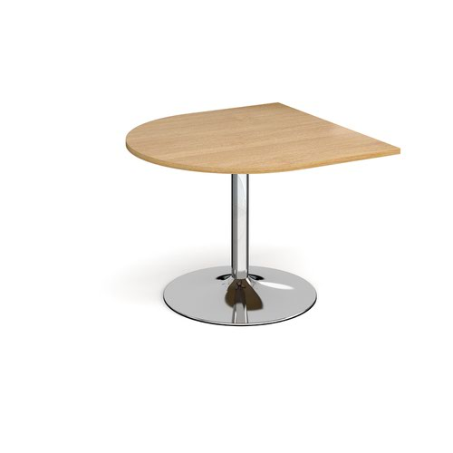 Trumpet base radial extension table 1000mm x 1000mm - chrome base and oak top