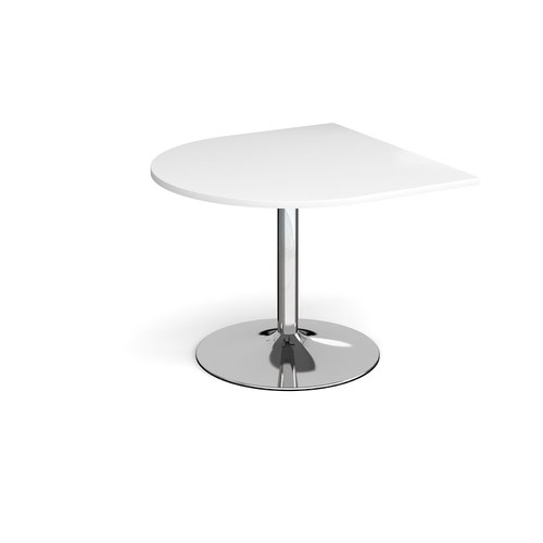Trumpet base radial extension table 1000mm x 1000mm - chrome base and white top
