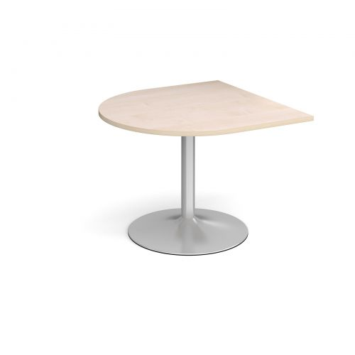 Trumpet Base Radial Extension Table 1000mm X 1000mm Silver Base Maple Top