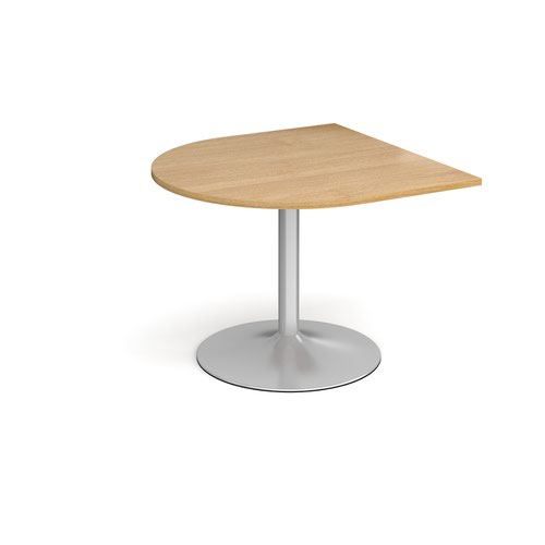 Trumpet Base Radial Extension Table 1000mm X 1000mm Silver Base Oak Top