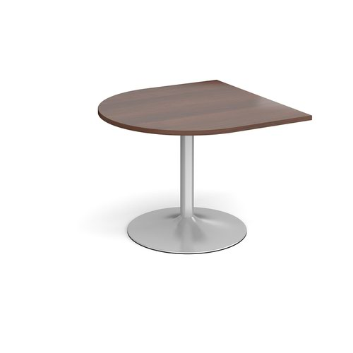 Trumpet base radial extension table 1000mm x 1000mm - silver base and walnut top