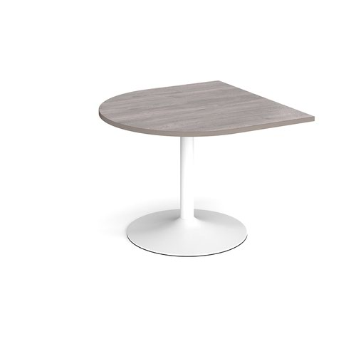 Trumpet base radial extension table 1000mm x 1000mm - white base and grey oak top