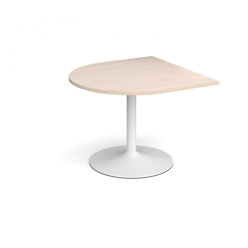 Trumpet base radial extension table 1000mm x 1000mm - white base and maple top