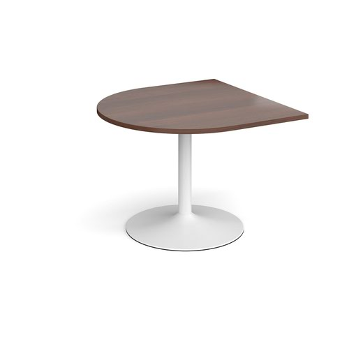 Trumpet base radial extension table 1000mm x 1000mm - white base and walnut top