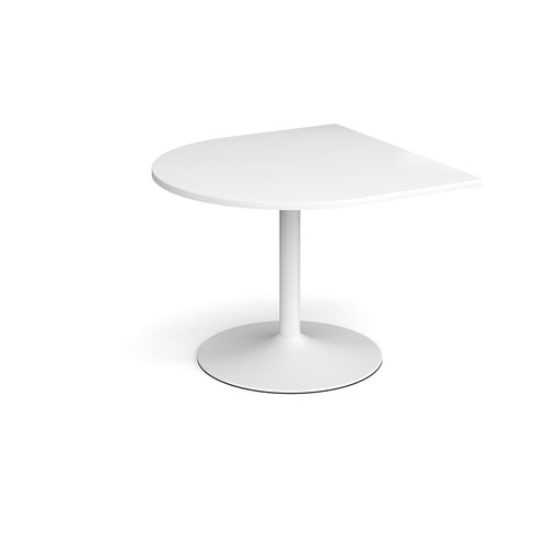 Trumpet base radial extension table 1000mm x 1000mm - white base and white top