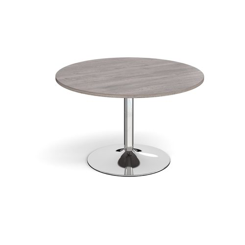 Trumpet base circular boardroom table 1200mm - chrome base and grey oak top