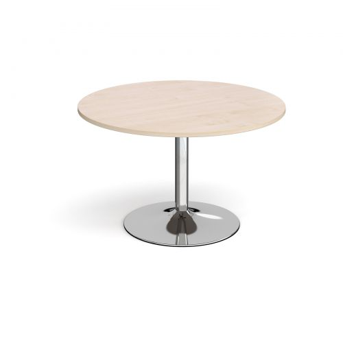 Trumpet base circular boardroom table 1200mm - chrome base and maple top
