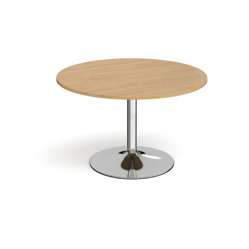 Trumpet base circular boardroom table 1200mm - chrome base and oak top
