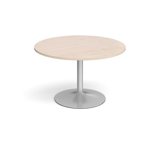 Trumpet Base Circular Boardroom Table 1200mm Silver Base Maple Top