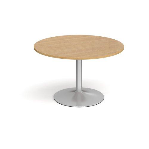 Trumpet Base Circular Boardroom Table 1200mm Silver Base Oak Top