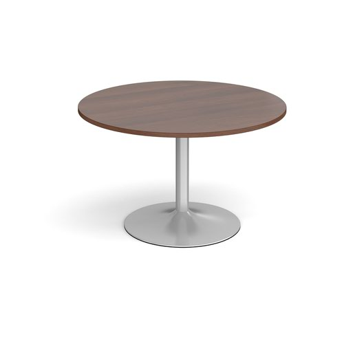Trumpet base circular boardroom table 1200mm - silver base and walnut top