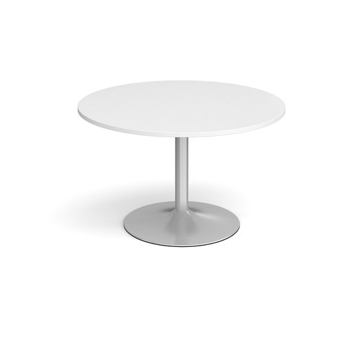 Trumpet base circular boardroom table 1200mm - silver base and white top