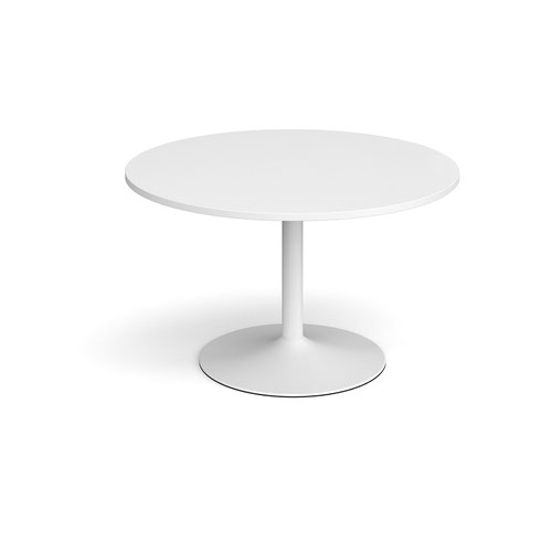 Trumpet base circular boardroom table 1200mm - white base and white top