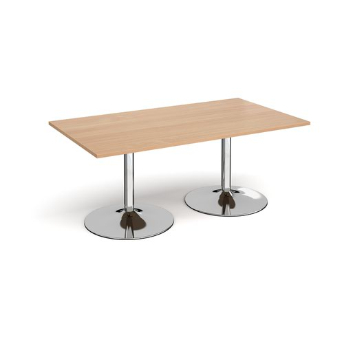 Trumpet base rectangular boardroom table 1800mm x 1000mm - chrome base and beech top