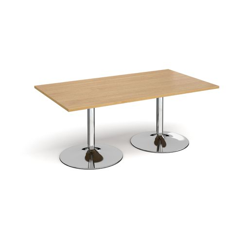 Trumpet base rectangular boardroom table 1800mm x 1000mm - chrome base and oak top