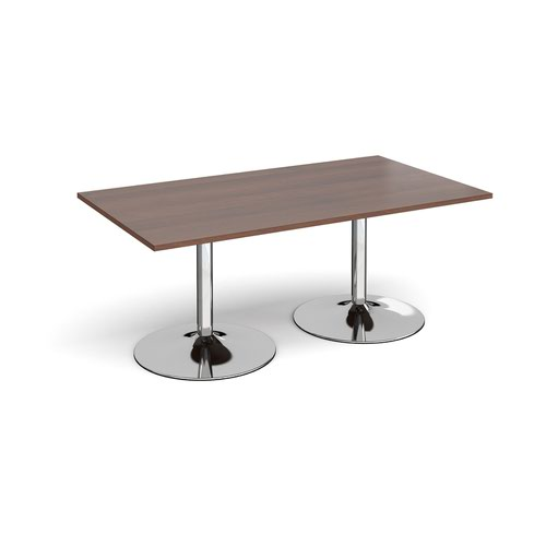 Trumpet base rectangular boardroom table 1800mm x 1000mm - chrome base and walnut top