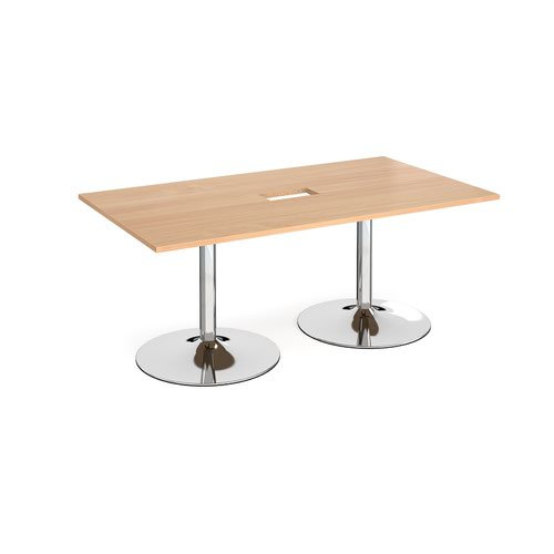 Trumpet base rectangular boardroom table 1800mm x 1000mm with central cutout 272mm x 132mm - chrome base and beech top