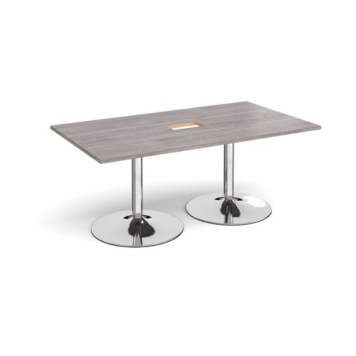 Trumpet base rectangular boardroom table 1800mm x 1000mm with central cutout 272mm x 132mm - chrome base and grey oak top