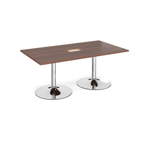 Trumpet base rectangular boardroom table 1800mm x 1000mm with central cutout 272mm x 132mm - chrome base and walnut top