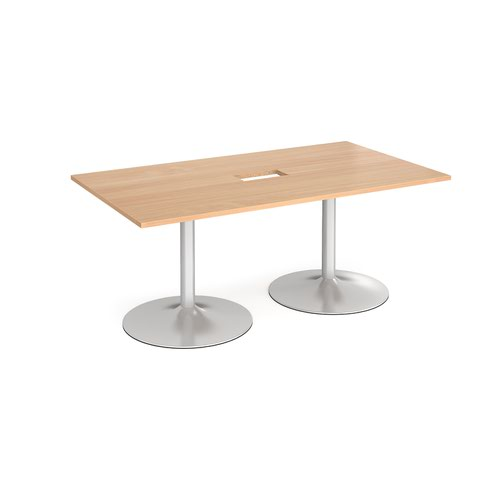 Trumpet base rectangular boardroom table 1800mm x 1000mm with central cutout 272mm x 132mm - silver base and beech top