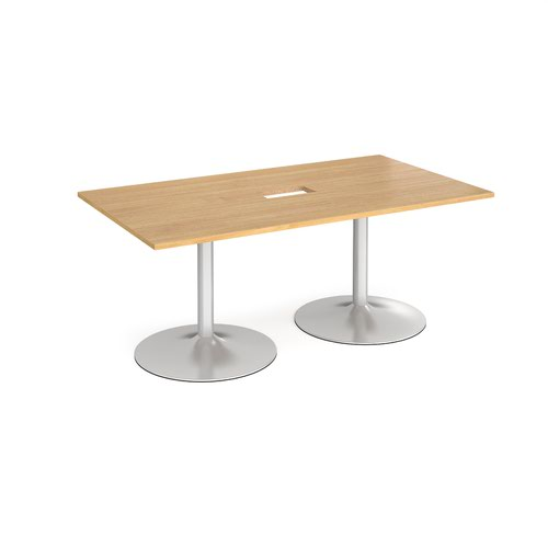 Trumpet base rectangular boardroom table 1800mm x 1000mm with central cutout 272mm x 132mm - silver base and oak top
