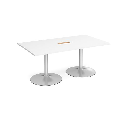 Trumpet base rectangular boardroom table 1800mm x 1000mm with central cutout 272mm x 132mm - silver base and white top