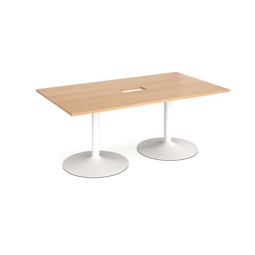 Trumpet base rectangular boardroom table 1800mm x 1000mm with central cutout 272mm x 132mm - white base and beech top