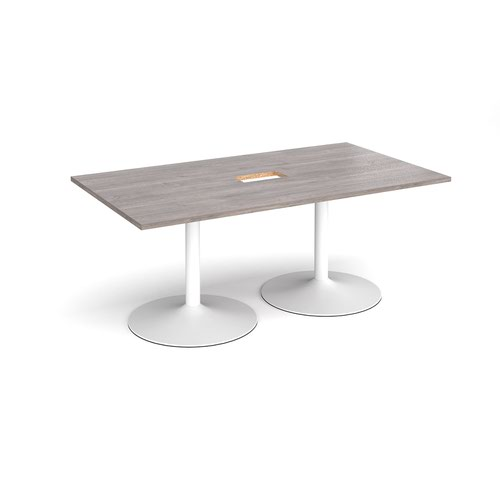 Trumpet base rectangular boardroom table 1800mm x 1000mm with central cutout 272mm x 132mm - white base and grey oak top