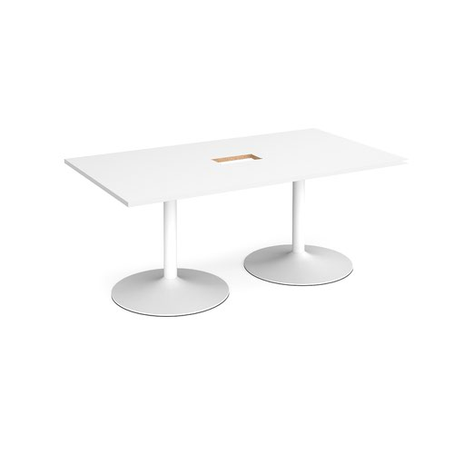 Trumpet base rectangular boardroom table 1800mm x 1000mm with central cutout 272mm x 132mm - white base and white top