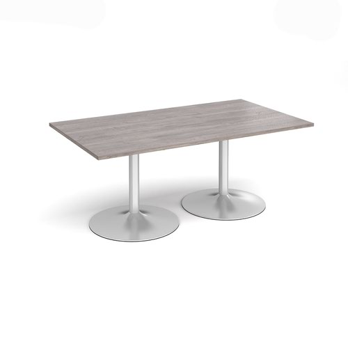 Trumpet base rectangular boardroom table 1800mm x 1000mm - silver base and grey oak top