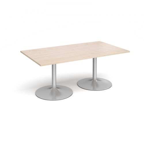 Trumpet Base Rectangular Boardroom Table 1800mm X 1000mm Silver Base Maple Top