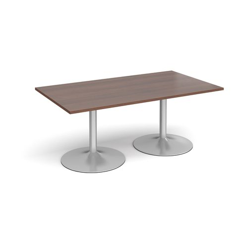 Trumpet base rectangular boardroom table 1800mm x 1000mm - silver base and walnut top