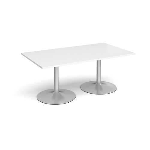 Trumpet base rectangular boardroom table 1800mm x 1000mm - silver base and white top