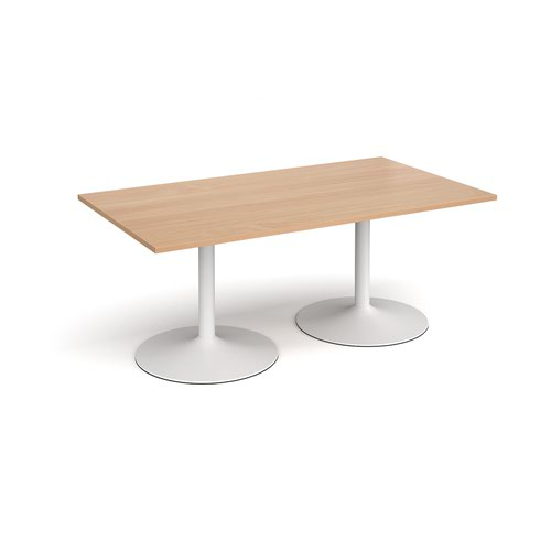Trumpet base rectangular boardroom table 1800mm x 1000mm - white base and beech top