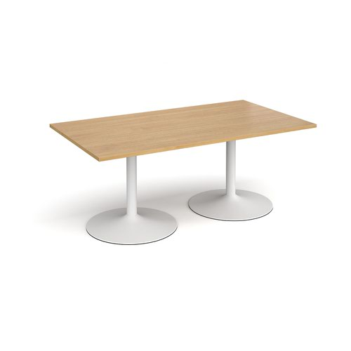 Trumpet base rectangular boardroom table 1800mm x 1000mm - white base and oak top