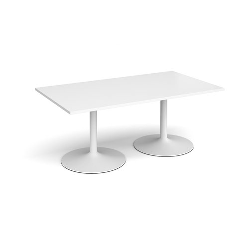 Trumpet base rectangular boardroom table 1800mm x 1000mm - white base and white top