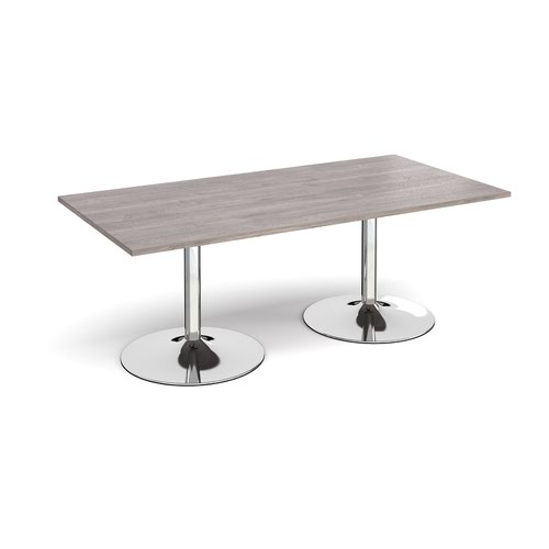 Trumpet base rectangular boardroom table 2000mm x 1000mm - chrome base and grey oak top
