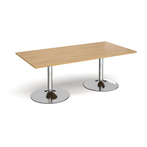 Trumpet base rectangular boardroom table 2000mm x 1000mm - chrome base and oak top