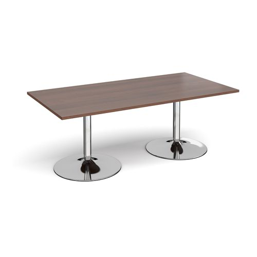 Trumpet base rectangular boardroom table 2000mm x 1000mm - chrome base and walnut top