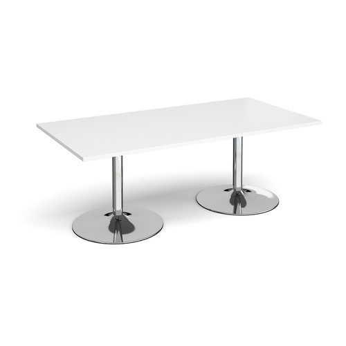 Trumpet base rectangular boardroom table 2000mm x 1000mm - chrome base and white top