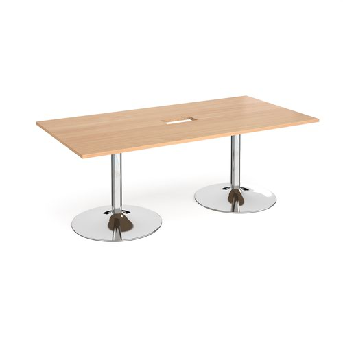 Trumpet base rectangular boardroom table 2000mm x 1000mm with central cutout 272mm x 132mm - chrome base and beech top