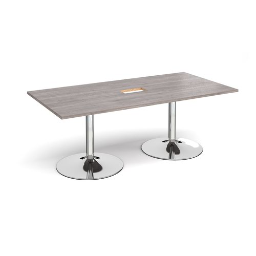 Trumpet base rectangular boardroom table 2000mm x 1000mm with central cutout 272mm x 132mm - chrome base and grey oak top