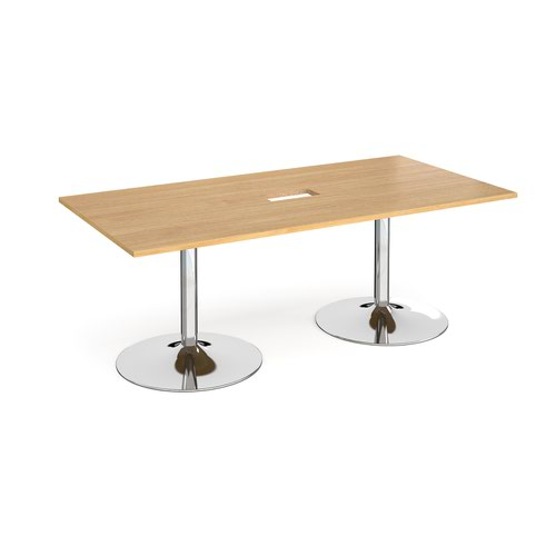 Trumpet base rectangular boardroom table 2000mm x 1000mm with central cutout 272mm x 132mm - chrome base and oak top