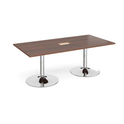Trumpet base rectangular boardroom table 2000mm x 1000mm with central cutout 272mm x 132mm - chrome base and walnut top