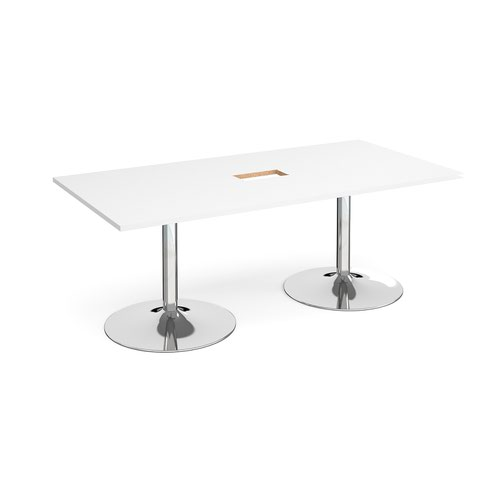 Trumpet base rectangular boardroom table 2000mm x 1000mm with central cutout 272mm x 132mm - chrome base and white top