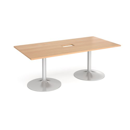 Trumpet base rectangular boardroom table 2000mm x 1000mm with central cutout 272mm x 132mm - silver base and beech top
