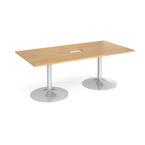 Trumpet base rectangular boardroom table 2000mm x 1000mm with central cutout 272mm x 132mm - silver base and oak top