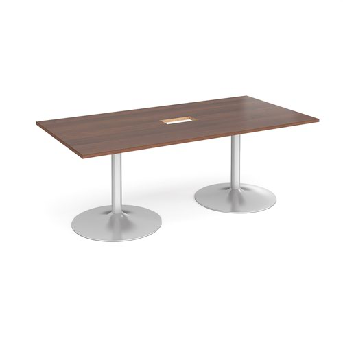 Trumpet base rectangular boardroom table 2000mm x 1000mm with central cutout 272mm x 132mm - silver base and walnut top