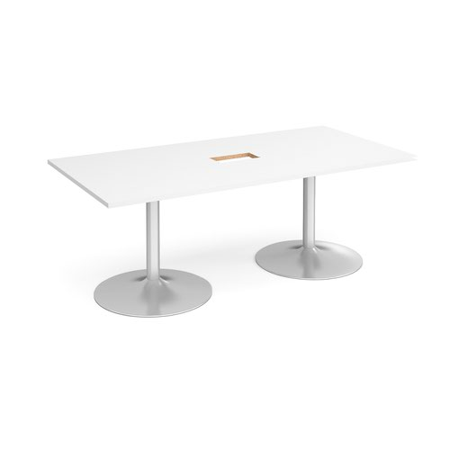 Trumpet base rectangular boardroom table 2000mm x 1000mm with central cutout 272mm x 132mm - silver base and white top